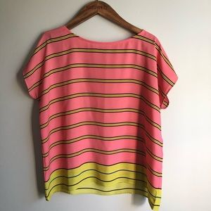 Loft Peach & Yellow Striped Blouse